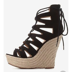 Charlotte Russe Lace Up Espadrille Wedge Sandal